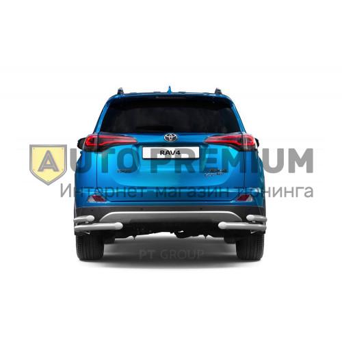 Защита заднего бампера двойная угловая Ø63/51мм (НПС) Toyota RAV4 2016-